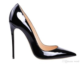 Wholesale High Heels Shoes Red Sole - 2017 red bottom pump Patent leather Pigalle Heels WOMEN wedding shoes pointed toe fine heels sexy woman red sole high heels 35-42