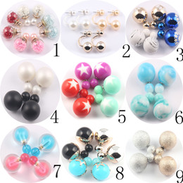 Wholesale Lovely Fashion Jewelry Wholesale - Clearance promotion Mixed Double Side Pearl Stud Earrings Lovely candy Colors Hot Sale Big ball Earrings fashion wedding prom Jewelry-AB-034