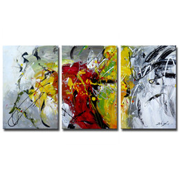 Wholesale Contemporary Wall Decorations - 3 Panels Abstract Oil Paintings Modern Artwork On Canvas Contemporary Wall Art Decoration 3 Pictures Combination