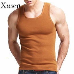 Wholesale Thick Sexy Clothing - Wholesale- Mens Thick Warm Vest 2016 New Casual Cotton Muscle Fitnesss Tank Tops Solid Color Bodybuilding Tank Top Clothing