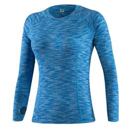 Toptan-2016 Yeni sonbahar kadın sıkıştırma uzun kollu t gömlek gündelik spor elastik giysiler tayt hızlı dy termal taban katmanı üstleri cheap wholesale long sleeve thermal shirts nereden toptan uzun kollu termal gömlekler tedarikçiler
