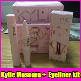 Wholesale Halloween Mascara - kylie jenner 2 in 1 mascara set eyeliner birthday edition 3D Fiber Lash Mascara+ Eyeliner Kyliner Waterproof i want it all Makeup Black