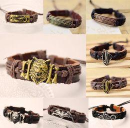 Wholesale Wolf Charms For Bracelets - New alloy Super Hero Wolf Cross Bracelets Jewelry For Women Men Leather Charm Bracelet Men Vintage Punk Bracelets & Bangles aa283