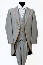 Wholesale Fly Trimmings - Wholesale- 2016 Slim Fit Morning Custom made Gray with Gold Trim Tailcoat Wedding Groomsmen Suits Groom Tuxedos ( jacket+Pants+vest+tie)
