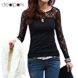Wholesale Wholesale Stretch Long T Shirts - Wholesale- 2017 Women t Shirts Stretch Floral Lace Patchwork O Neck Long Sleeve Slim Fit Simple Tops Camisetas Femininas Black White