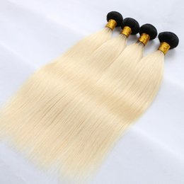 Wholesale Light Blue Human Hair Extensions - Anemone 1B Blonde Grey Beige Baby Blue Straight Hair 2 Tone Ombre Color Brazilian Virgin Human Hair Weaves Extension Double Weft 3Pcs lot
