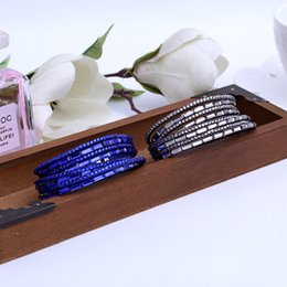 Wholesale Leather Wrap Friendship - The Popular Ladies Casual Wrap Charm Friendship Bangle Bracelet Women's Multilayer leather with Crystal Rhinestone Cuff Bangle Bracelets