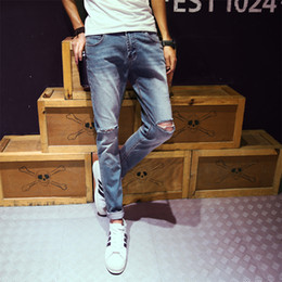 Wholesale Jeans Trou - Wholesale- Limited Edition Famous Brand Vintage Men designer Casual Hole Ripped Jeans Mens Fashion Skinny Denim Pants Slim Fit Male Trou