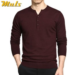 Wholesale Super Man Sweater - Wholesale- Muls Super good quality sweater men trending style 3 buttons autumn winter male pullover knitwear Red M L XL 2XL 3XL MS3027