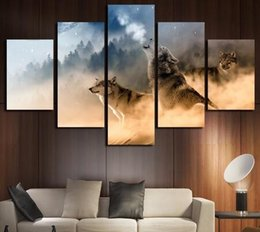 Wholesale Classical Art Pictures - 5 Panels NO Framed Wall Art Picture Canvas Paintings Wolf Wall Decorations For Living Room Giclee Paintings Home Decor