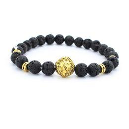 Wholesale Silver Men Bracelets China - New male bracelet Natural Stone Alloy silver gold lion head 8 mm beads with volcanic rock men Jewelry Lava Yoga Bracelets gift