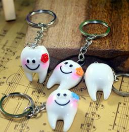 Wholesale Dental Chain - New Interesting Simulation of Dental Key Chain Smile Dental Lock Ring Accessories Dental Hospital Dentistry Gift