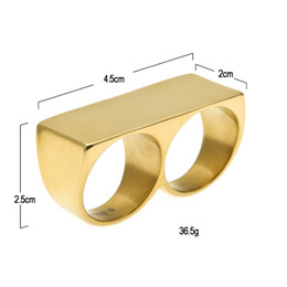 Wholesale Rings For Fingers - Fashion Hip Hop Two fingers Ring Gold Plated Stainless Steel For Men Women Wedding Rings Party Jewelry Drop Shipping jewelry