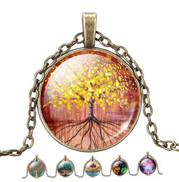 Wholesale Long Bronze Chain - Wholesale-2016 The Tree Of life Dome Glass Pendant Necklaces Women Necklaces Jewelry Vintage Bronze Chain Long Statement Necklaces Gift