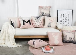 Wholesale Elephant Pillow Pattern Free - Free shipping Scandinavian Nordic triangles deer elephant life is beautiful word pattern cushion cover home decorative throw pillow Case