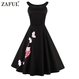 Wholesale polka dot swing - Wholesale- ZAFUL Brand Plus Size Women Dress Vintage robe rockabilly 50s Black Embroidery Sleeveless Swing Party Dresses Feminino Vestidos