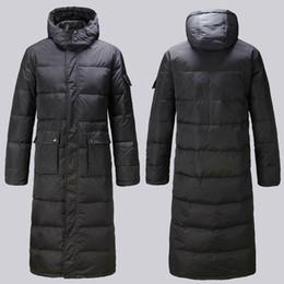 Wholesale Fast Hood - Wholesale- Men Long Down Coat Parkas Outwear Jacket Overcoat Hood Plus size Black Warm Winter Fast shipping