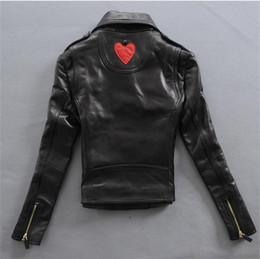 Wholesale Leather Jackets Branded - 2017 slp lady real leather slim fit double zipper jackets red heart luxury famous brand jackets