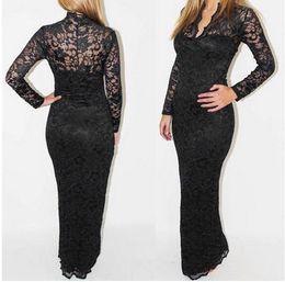 Wholesale Scallop Neck - Fashion Ladies' V-Neck Slim Scallop Neck Lace Long Sleeve Maxi Dress Slim Women Evening Dress Elegant Long Prom Dress