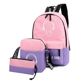 Wholesale Primary Secondary - Wholesale hit color shoulder bag female backpack tide trip primary secondary school students bag college nylon Korean