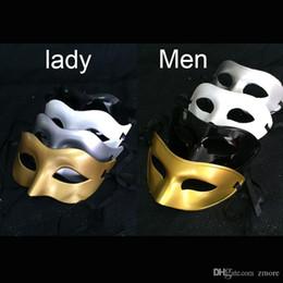 Wholesale Halloween Venetian - Men's lady Masquerade Mask Fancy Dress Venetian Masks Masquerade Masks Plastic Half Face Mask Optional Multi-color (Black, White, Gold,