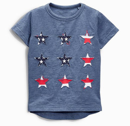 Wholesale Clothes Fashion Flag - 2017 Summer New Baby Boy T-shirts American flag Star Cotton Short Sleeve T-shirts Children Clothing 1-6Y 50684