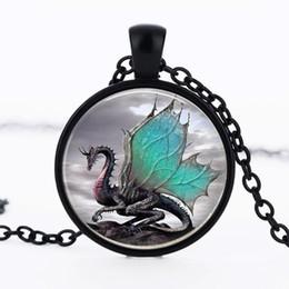 Pendentif bijou de temps bijou de collier animal dragon bleu convexe rond en verre fait main bijoux trois de la vente ? partir de fabricateur