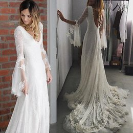Wholesale red sheer fabric - Modern Long Appliques Sleeves Wedding Dresses A line Behemia Bride Gowns Lace Fabric Illusion Bodice Sweep Train V Neck Wedding Gowns