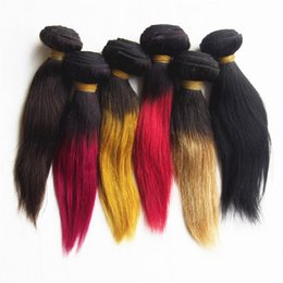 Wholesale Short Ombre Weave - Peruvian Virgin Hair Straight 1 Bundle 50g Black And Ombre Straight Short Virgin Hair Two Tone Peruvian Human Hair Straight