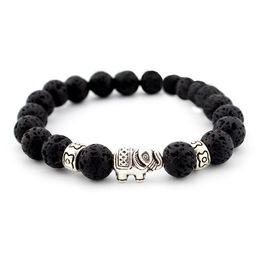 Wholesale Invisible Elephant - Vintage Lava Rock Beads Charms Bracelets Elephant Bracelets 2017 New Arrival Men's Women's Natural Stone Strands Bracelets