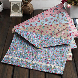 Wholesale Acryl Bags - 2017 Fashion Sweet Floral Lace Series Fabric File Cloth A4 Bag Document Bags Stationery office Documents Pouch Pocket