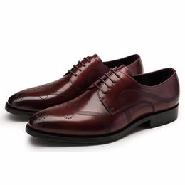 Wholesale Comfortable Mens Black Dress Shoes - top quality mens dress shoes genuine leather comfortable elegance fashion wedding business shoes