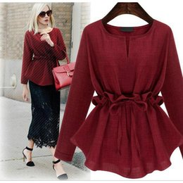 Wholesale New Style Long Sleeve Cotton Linen O neck Shirts Women s Tops Fashion Slim Pullover Spring Autumn Lady s Clothing Plus Size xl Mi