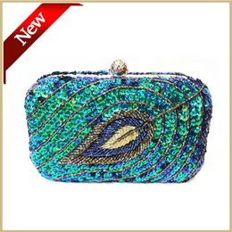 Wholesale Clutch Festa - Wholesale- Free Shipping Handmade Beaded Green evening bags Lady Left Beaded Dinner day clutch festa Women Party Clutches White Blue 031035