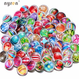 Wholesale Eggshell Animal - Wholesale 50pcs lot High Quality Painted Eggshell Pattern Mix Many Styles 18mm Glass Snap Button Snap Charms Fit Snaps Jewelry KZHM037