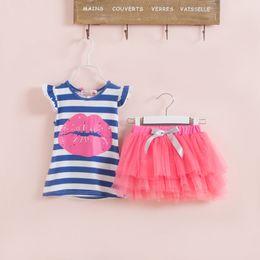 Wholesale Girls Tutu Skirts Patterns - Children's Clothing Set Girl red lip pattern stripe vest+tutu skirt 2 pcs Girls short sleeve suit