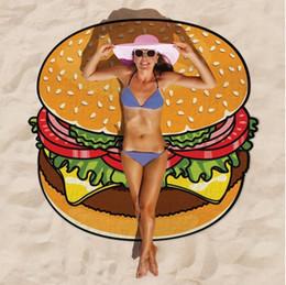 Wholesale Baby Throws - Round Donut Pizza Hamburge Watermelon Towels Indian Mandala Beach Throw Tapestry Hippy Boho Beach Towel Yoga Mat