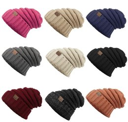 Wholesale Hat Folding - Unisex CC Trendy Hats Winter Knitted Beanie Label Winter Knitted Wool Cap Unisex Folds Casual CC Beanies Hat Solid Hat KKA1604