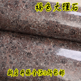 Wholesale Marble Wall Paper - Wholesale- New 10m*60cm wall waterproof stickers wall home decor films Brown marble kitchen cabinet furniture tv background wall wallpaper