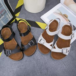 Wholesale Lovers Slippers Indoor - The New Style Men Women Word Drag Anti-skid Leather Beach Cork Lovers Slippers Sandals Couple Shoes