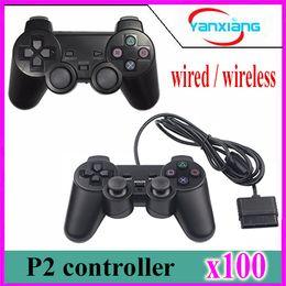 Wholesale Ps2 Joystick Controller - 100pcs Wired 1.5M Controller Dual Vibration Joystick Gamepad Joypad For PS2 Playstation 2 Black retail bilstercard pack yx-ps2-1