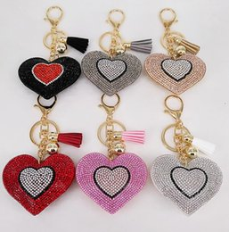 Wholesale Keychain Phone Crystals - 14cm Heart Shape Keychain Crystal Rhinestone Keyring Tassel Women Bag Charm Accessory car phone Pendant KKA2633