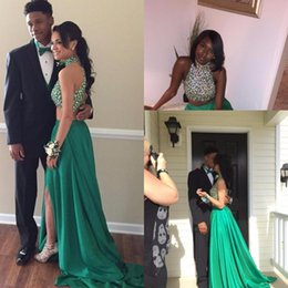 Wholesale Yellow One Shoulder Rhinestone Dress - Sexy High Neck Beaded Crystal Rhinestone Green Prom Dresses 2017 Two Pieces Long Court Train Chiffon Women Formal Gowns