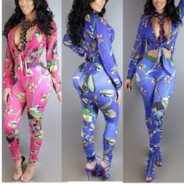 Wholesale ladies animal print jumpsuits - 2 Piece Set Women Cardigan Blouse Tops+Pants 2017 Fashion Ladies Floral Long Sleeve Jumpsuits Rompers Casual Party Playsuit