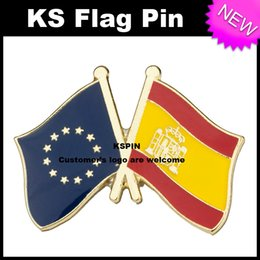 Wholesale Union Pins - European Union Spain Flag Badge Flag Pin 10pcs a lot Free shipping 0003