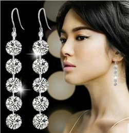 Wholesale Wholesale Jade Products - Selling Products! 2016 New Fashion Jewelry Sparkle Fashion earrings Long Zircon Earrings 60MM 8MM