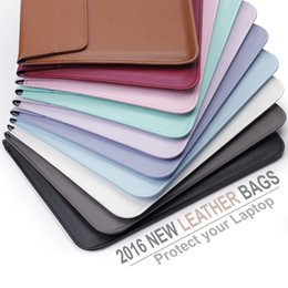Wholesale Macbook Pro 15 Sleeve Leather - For Apple Macbook Air Pro Retina Touch Bar 11.6 13.3 15.4 inch New Leather Sleeve Protector Envelope Bag Cover Case