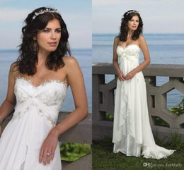 Wholesale Chiffon Wedding Dress Low Prices - Beach Wedding Bride Dresses 2016 Sexy Empire Sweetheart Ruffles Appliques Chiffon Low Price Bridal Dress Hot Sale Summer Casual Bridal Gown