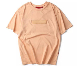Wholesale Men S Shirt Box - Asian Size Tea Peach Suprem T Shirts Men Women Summer Short Sleeve Tops Tees Hip Hop Embroidered Box Logo Cotton T-shirts