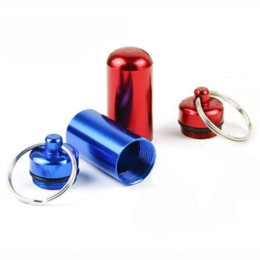 Wholesale Metal Box Medicine - 6Pcs* Aluminum Waterproof Pill Shaped Key Box Bottle Holder Container Key Chain Medicine Key Ring keychain box V1739